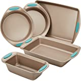 Rachael Ray 46179 Cucina Nonstick Bakeware Set with Grips includes Nonstick Bread Pan, Baking Pan, Cookie Sheet and Cake…