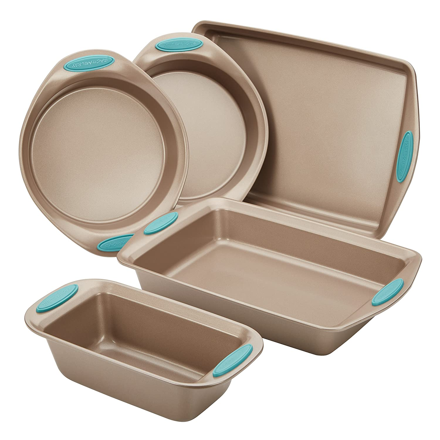 Rachael Ray Nonstick Bakeware 5-Piece Set, Latte Brown with Agave Blue Handle Grips 46179