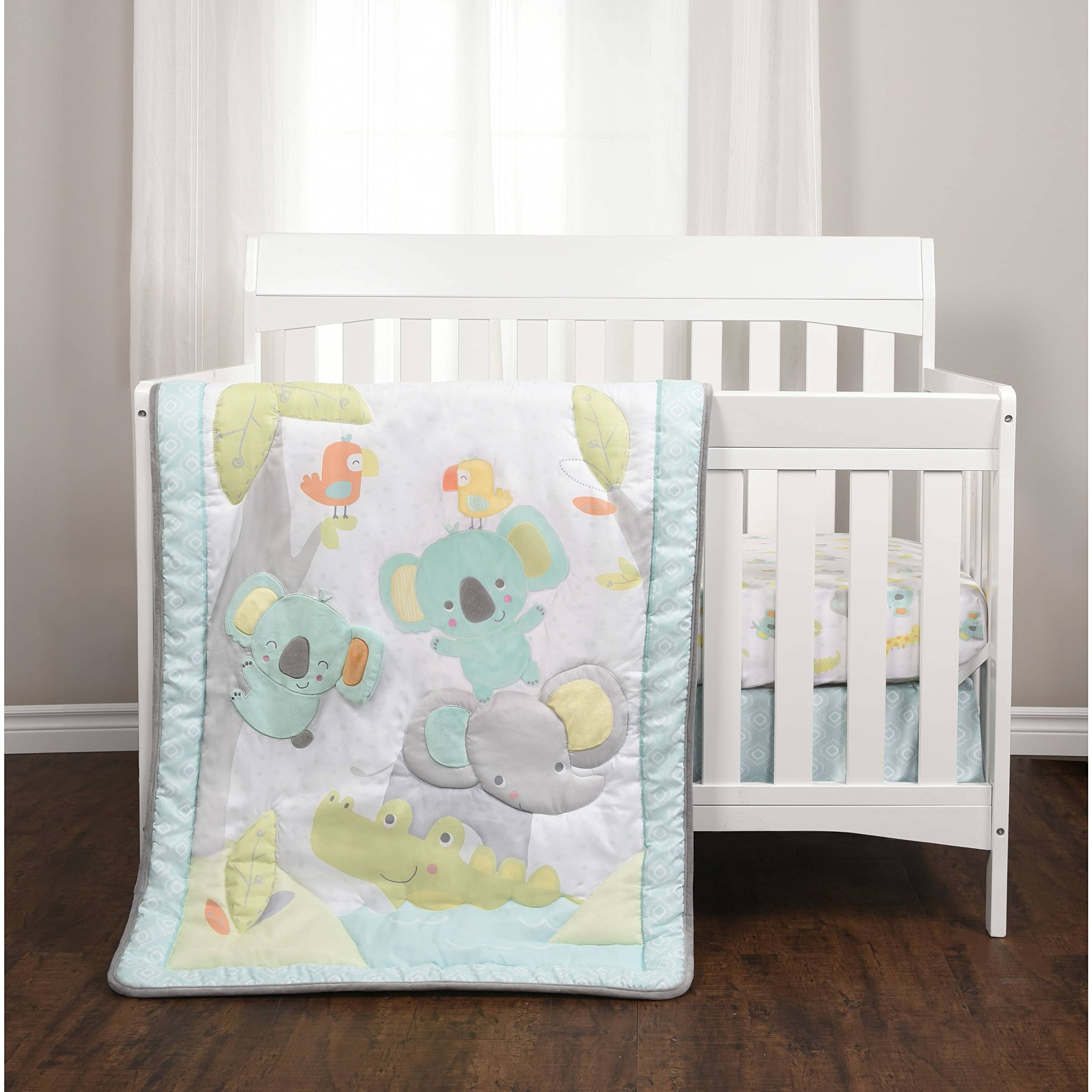 3 Piece Baby Blue Grey White Jungle Crib Bedding Set, Newborn Animal Themed Nursery Bed Set Infant Child Safari Elephant Alligator Birds Koala Bears Water Cute Bold Border Blanket Comforter, Cotton