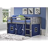 DONCO KIDS 790AAG_750C-TB Louver Low Loft Bed with Blue Tent, Twin, Antique Grey