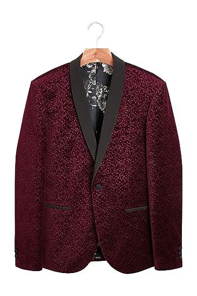 next Hombre Chaqueta De Corte Ajustado De Terciopelo con Estampado Floral Rojo EU 112 Short (