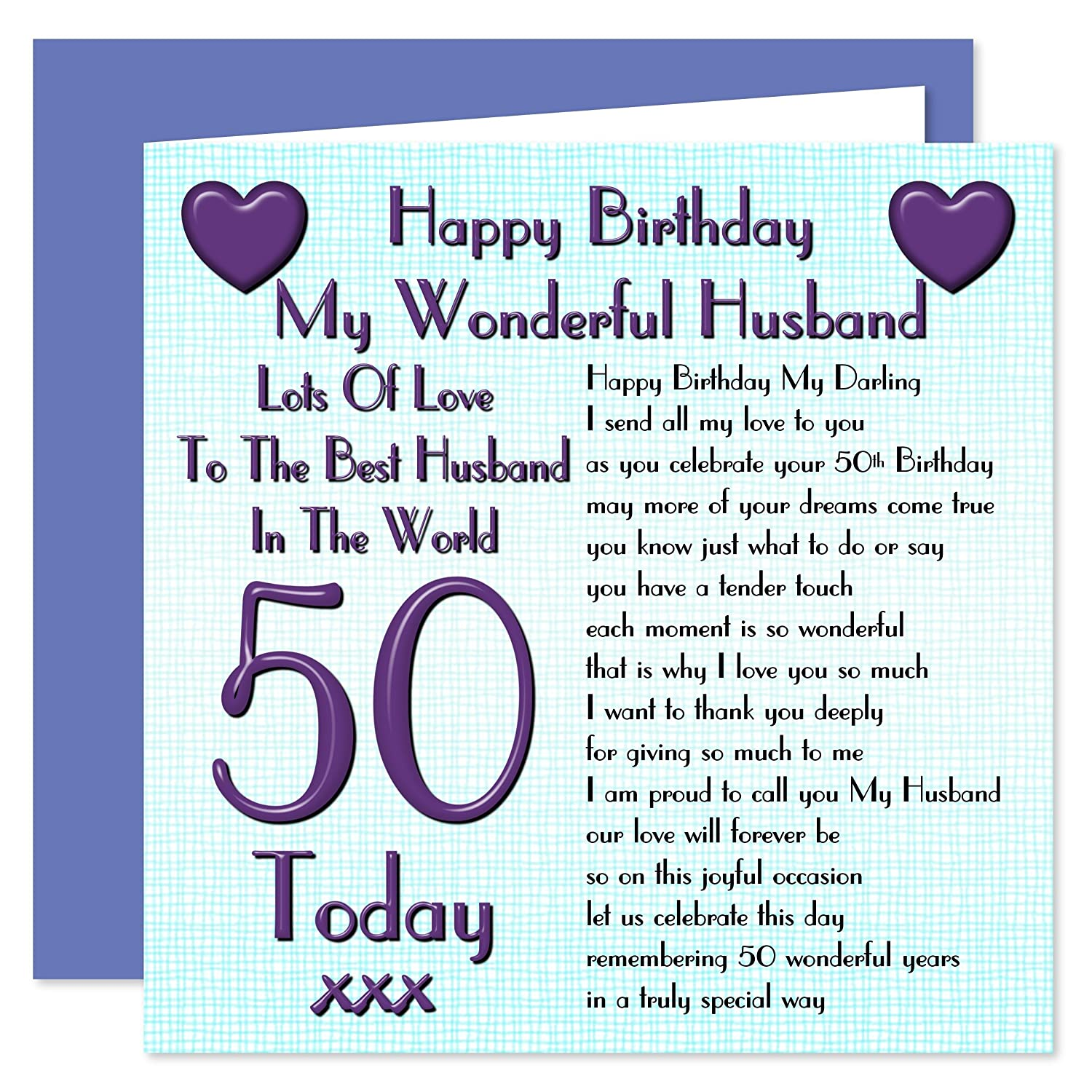 Husband 50th Happy Birthday Card Lots Of Love To The Best Husband