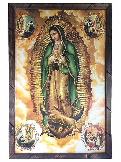 Amazon.com: Virgen De Guadalupe Cuadro Religioso Con Marco De Madera ...