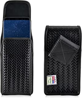 product image for Turtleback Belt Case Holster Made for Samsung Galaxy S9 Plus + & S8 Plus Black Basketweave Leather Police Duty Belt Pouch with Heavy Duty Rotating Belt Clip, Horizontal (Magnetic Closure) Made in USA