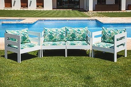 SUENOSZZZ - Sofa Jardin de Madera de Pino Color Blanco, MEDITERRANEO Mod. sillón, Sillon cojín Tela Estampada Elga. Muebles Jardin Exterior. Silla ...