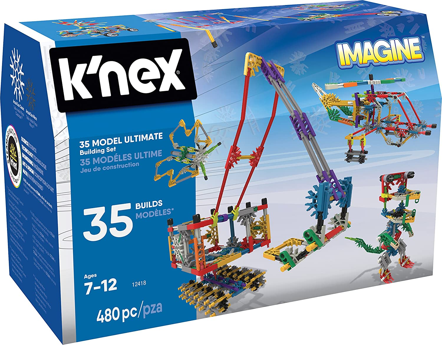 K'NEX Imagine 35 Model Building Set for Ages 7+, Construction Education Toy, 480 Pieces K'NEX 12418