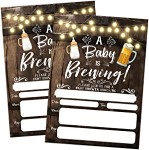 A Baby is Brewing Baby Shower Invitation, Beer and Bottle Couples Shower Co-ed, 20 Invitations with envelopes