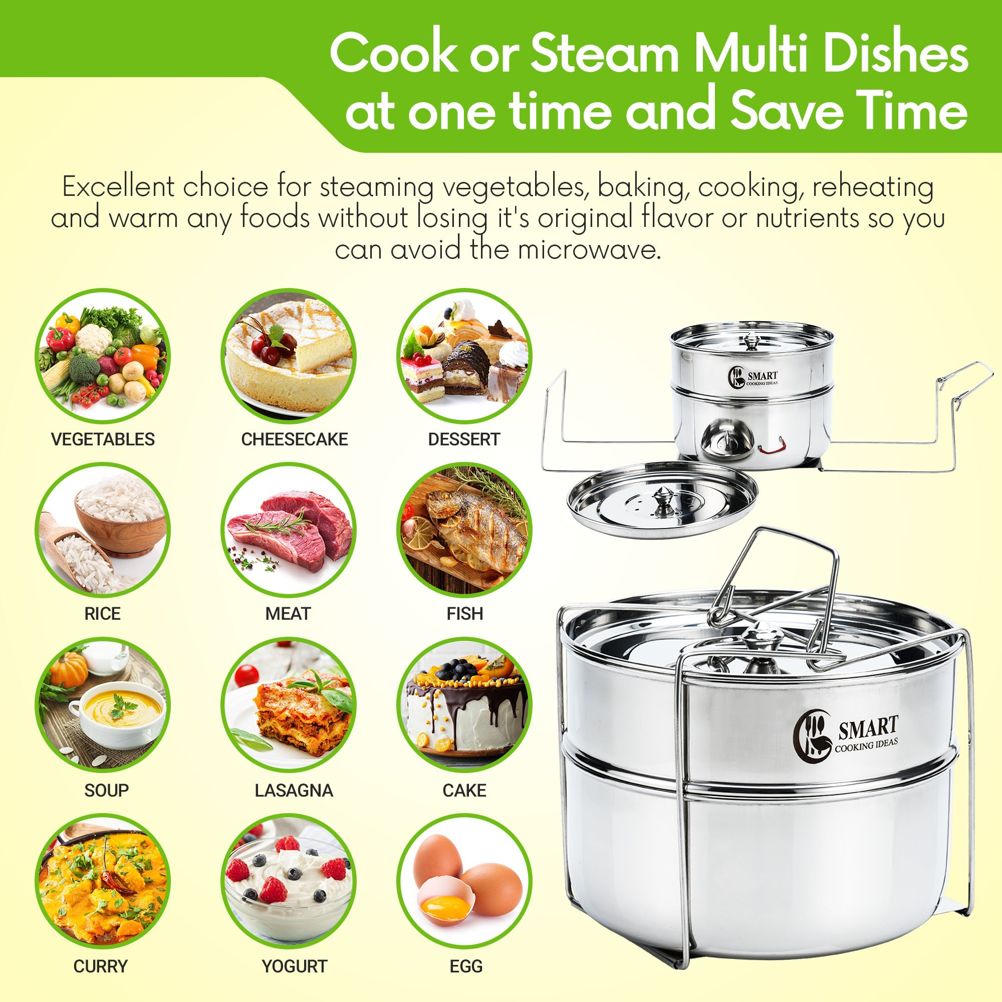 Stackable Stainless Steel Pressure Cooker Steamer Insert Pans with sling - For Instant Pot Accessories 6,8 qt-Baking, Casseroles, Lasagna Pans, Food Cooker, Upgraded Interchangeable Lid-Instapot Pans by SMART COOKING IDEAS (Image #4)