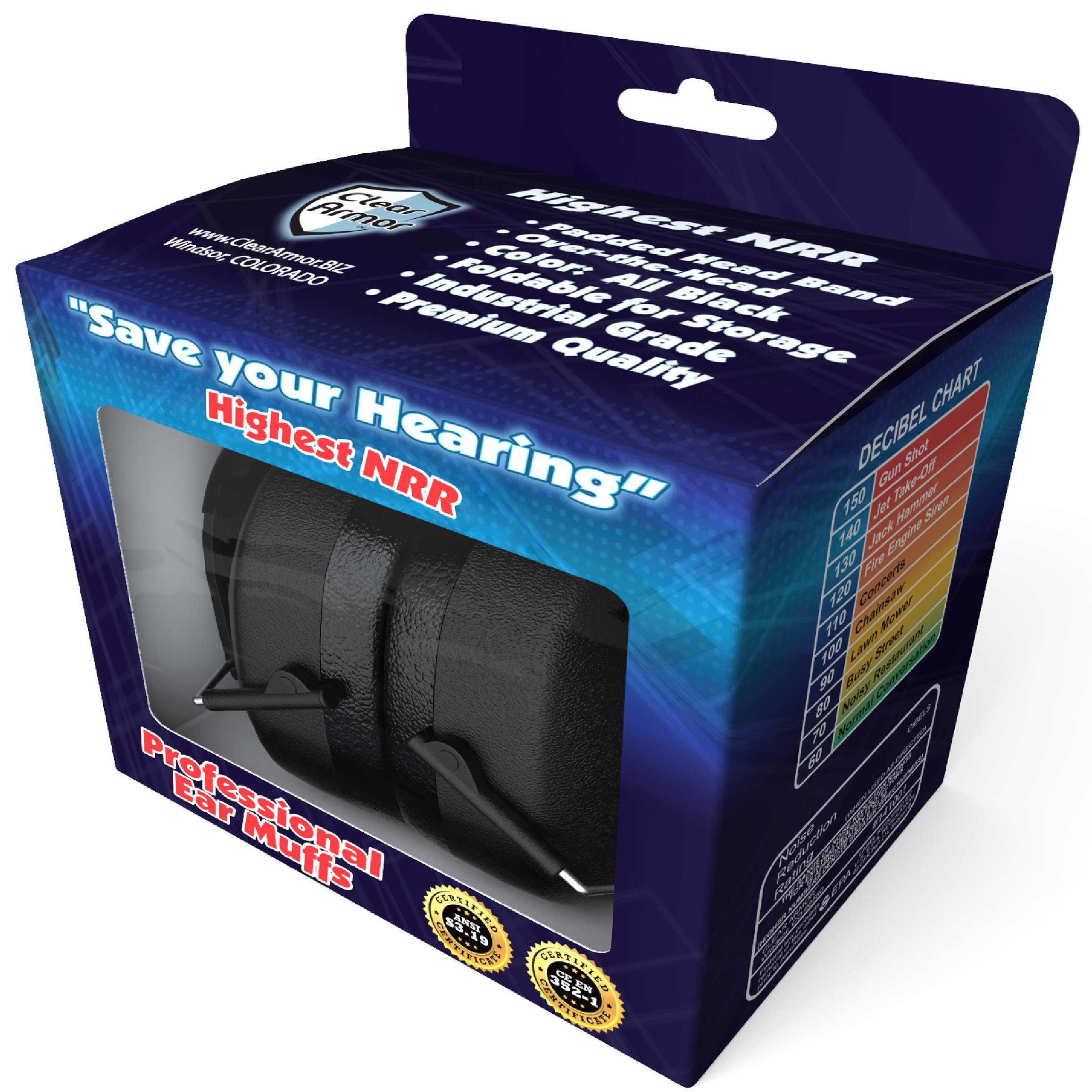 ClearArmor 141001 Shooters Hearing Protection Safety Ear Muffs Folding-Padded Head Band Ear Cups, Black by ClearArmor (Image #5)