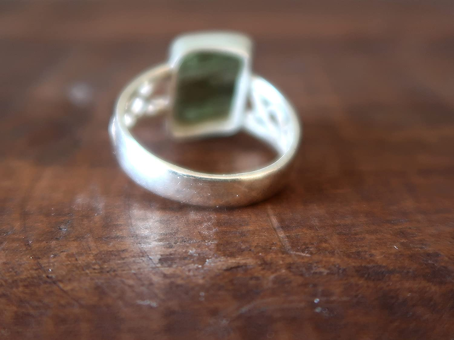 Satin Crystals Moldavite Ring Boutique Real Raw Green Space Stone High Vibration Gem Sterling Silver Genuine Rough B04