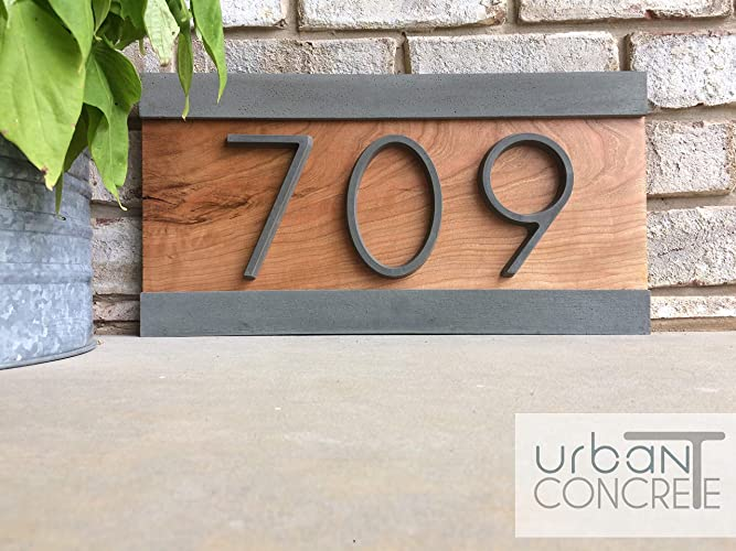 Elegant Modern House Numbers, House Numbers Sign, Modern,Wood And Concrete Address  Plaque, Custom House Address Sign, Realtor Closing Gift, ...