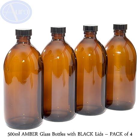 500 ml botellas de vidrio ámbar con negro tapas – Pack de 4