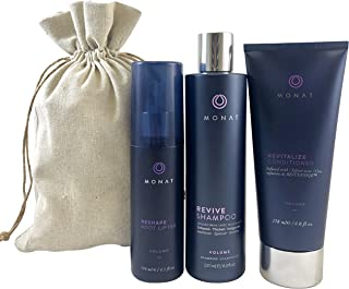 product image for Monat Volume System - Revive Volumizing Shampoo, Revitalize Conditioner and Reshape Root Lifter Bundle with Free Linen Bag