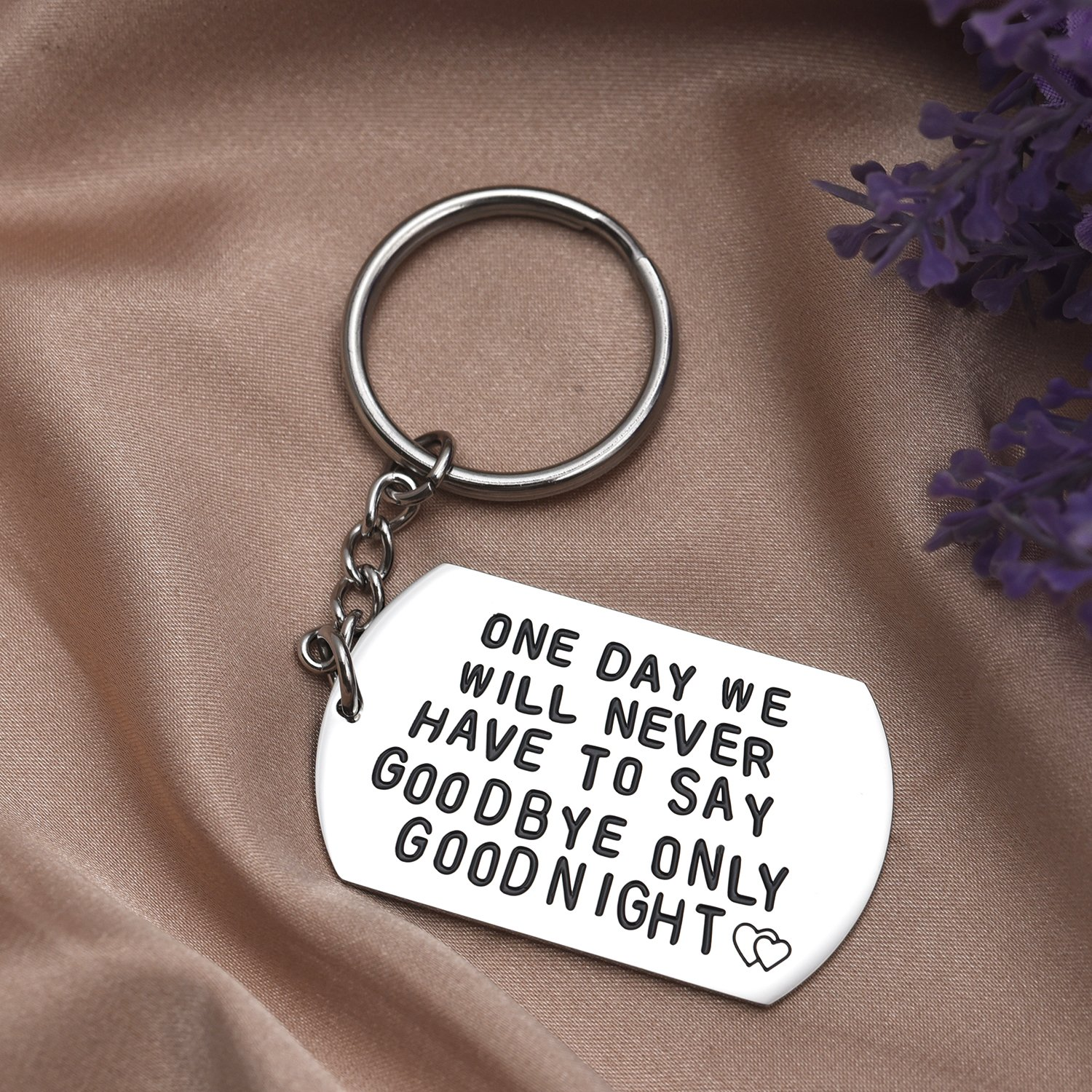 LParkin One Day We Will Never Have to Say Goodbye Long Distance Relationship Gifts Keychain/Necklace Love Quote Valentines Gift (Keychain) by LParkin (Image #2)