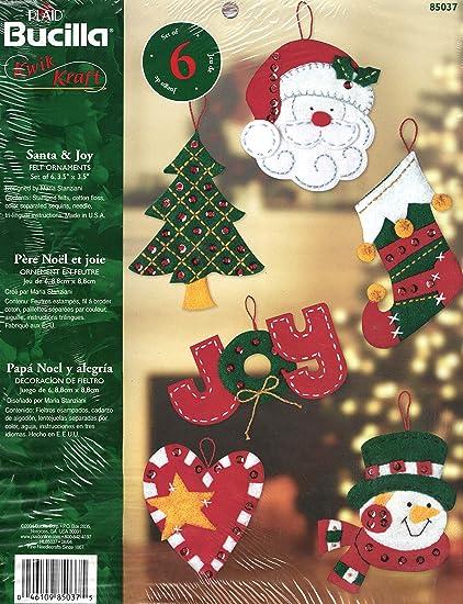 Amazoncom Bucilla Santa Joy Felt Applique Ornament Kit
