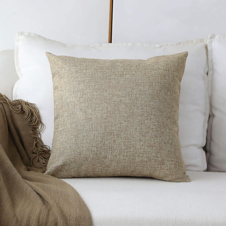 Home Brilliant Textured Burlap Linen European Pillowcase Pillow Sham Large Cushion Cover for Sofa, 24x24(60cm), Natural Linen