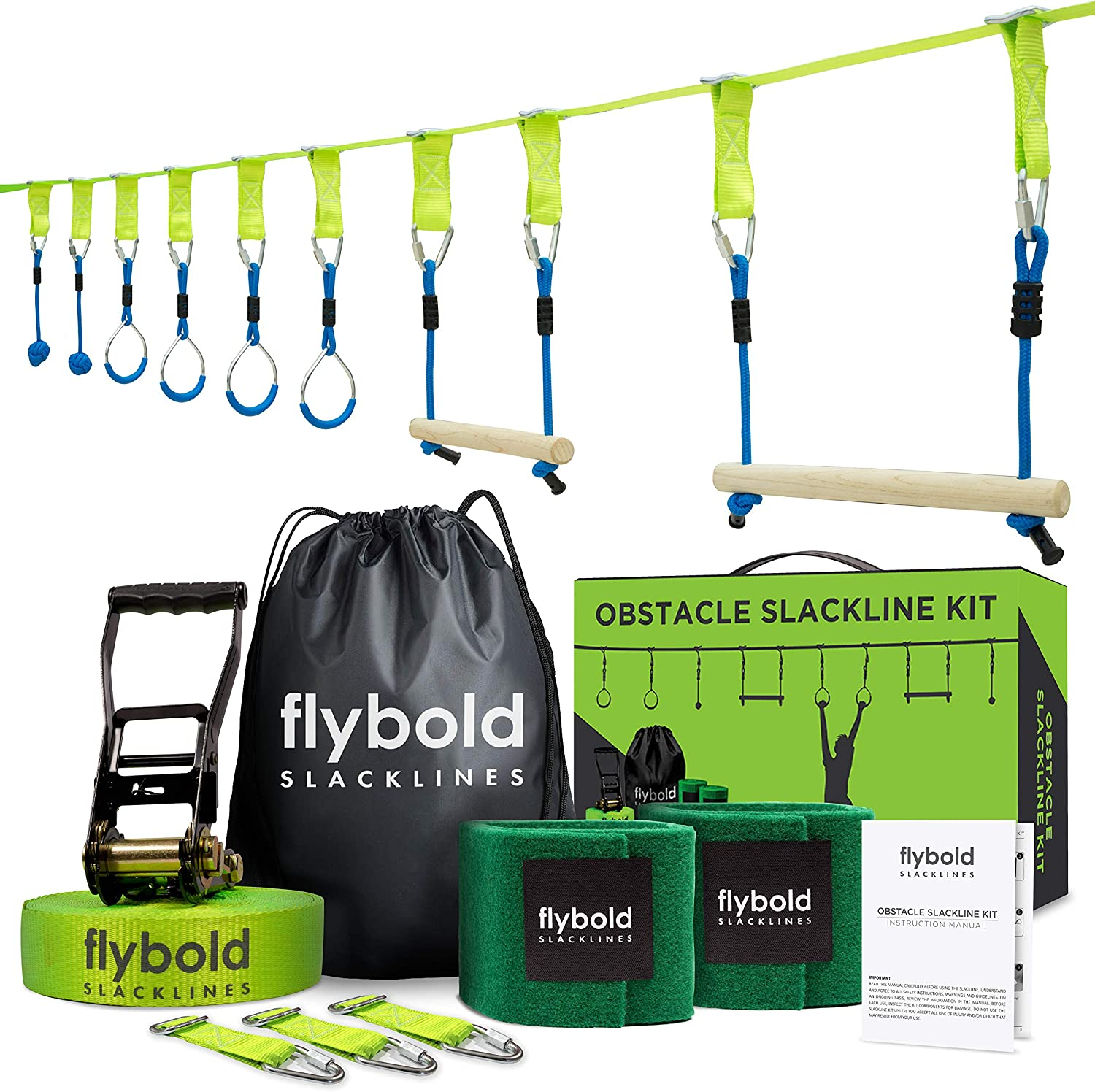 Ninja Obstacle Course Line Kit 40 Slackline 8 Hanging Obstacles with Adjustable Buckles Tree Protectors Instruction Booklet Carry Bag Capacity 300lbs ...