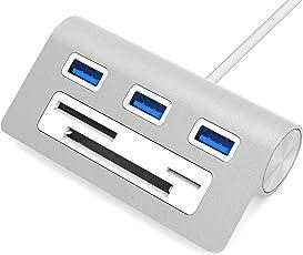 """Sabrent Premium 3 Port Aluminum USB 3.0 Hub with Multi-In-1 Card Reader (12"""" cable) for iMac, MacBook, MacBook Pro, MacBook Air, Mac Mini, or any PC (HB-MACR)"""