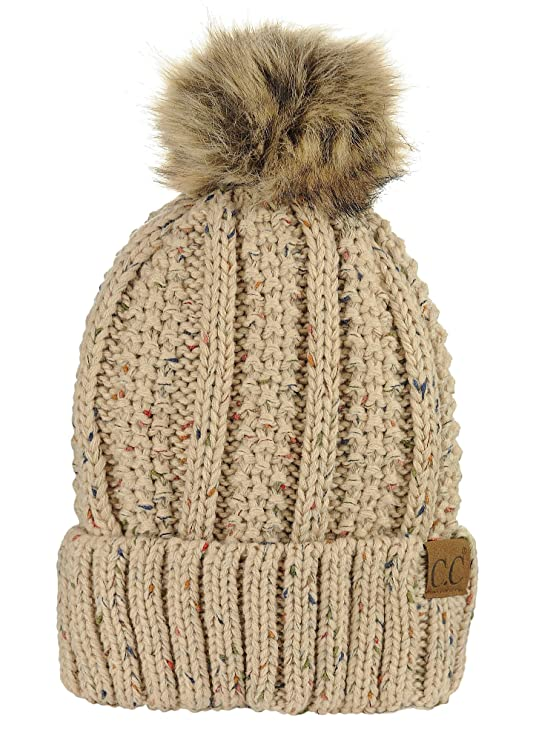 d92d45e6f50 C.C Thick Cable Knit Faux Fuzzy Fur Pom Fleece Lined Skull Cap Cuff Beanie