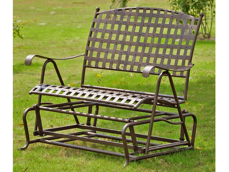 International Caravan, Santa Fe Iron Porch Double Glider Garden Bench