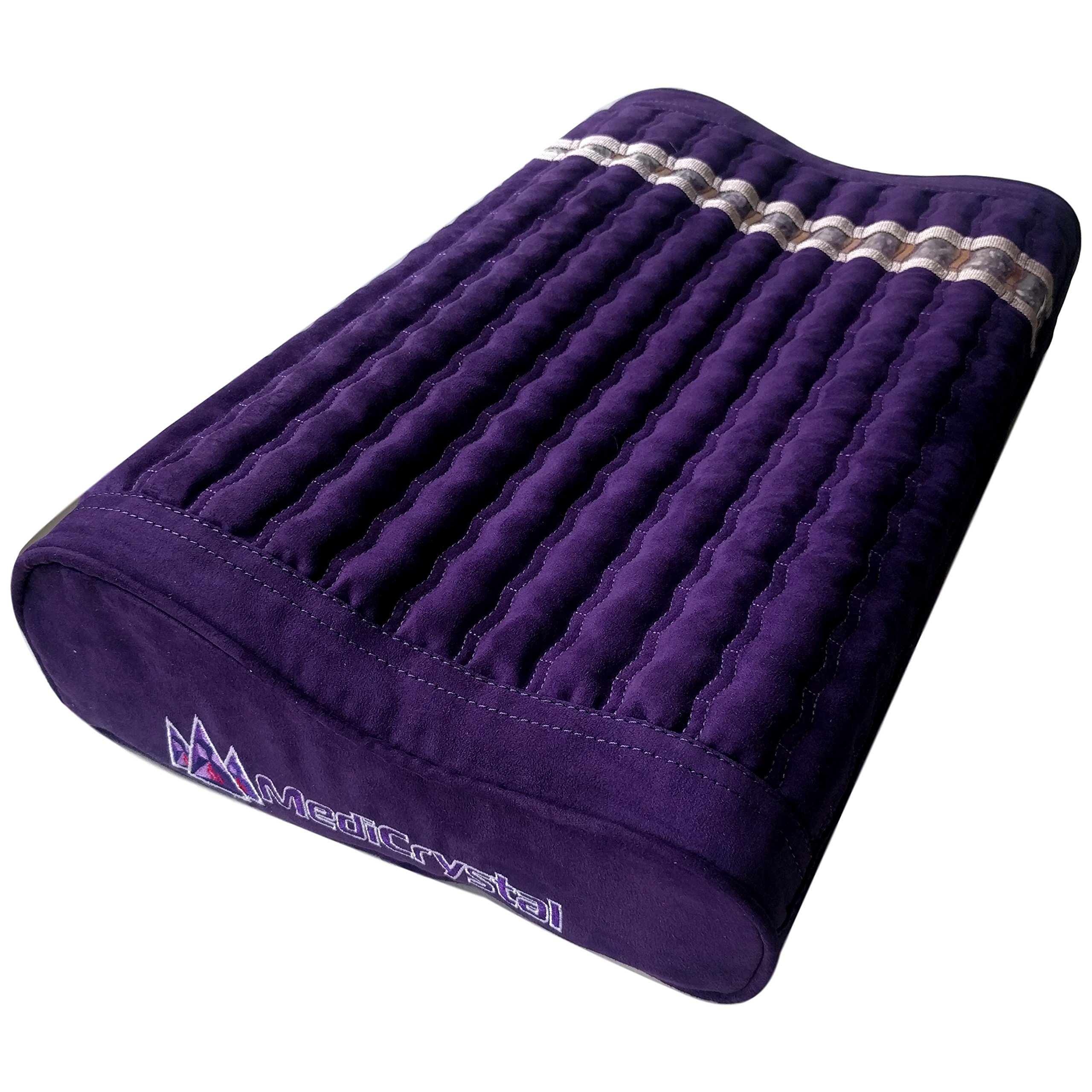 Far Infrared Amethyst Mat Pillow - Emits Negative Ions - Crystal FIR Rays - 100% Natural Amethyst Gemstones - Non Electric - For Headache and Stress Relief - To Sleep Better - GENTLE support - Purple by MediCrystal (Image #5)