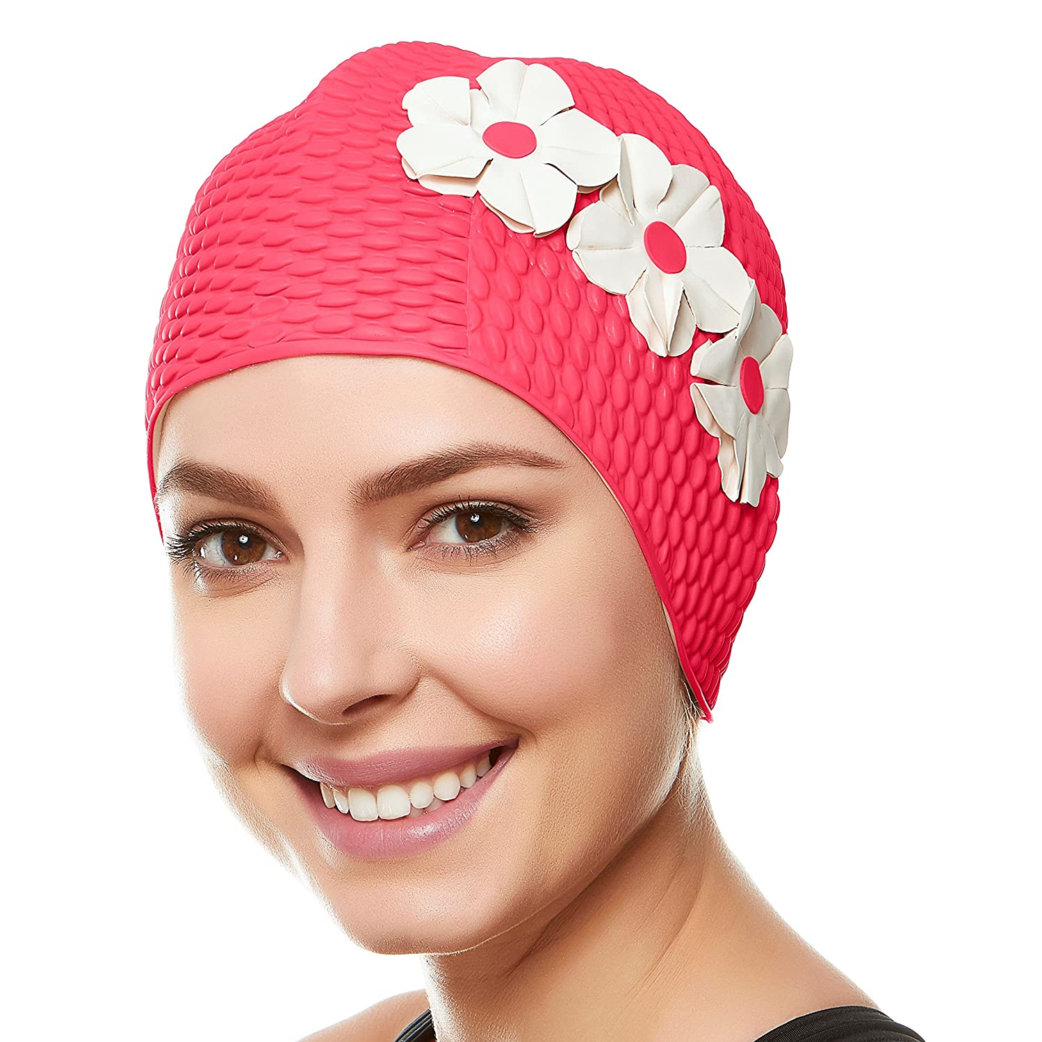 d791944bd02c7 (Pink 3 with White - Swim Flowers) - Beemo Swim Bathing Caps for Women &  Girls - Retro Style Latex Bubble Crepe Swimming Hat with 3 Flowers for  Long/Short ...