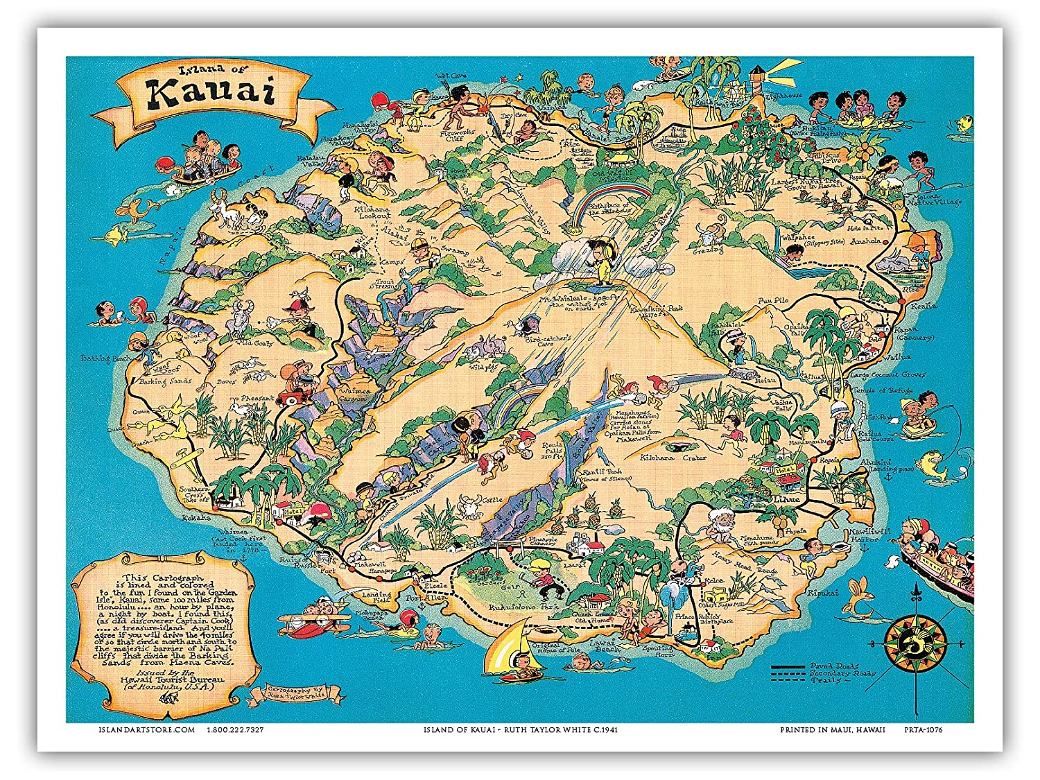 Hawaiian Island of Kauai Map - Hawaii Tourist Bureau - Vintage Hawaiian on molokai island map, corpus christi island map, kauai hawaii, kihei island map, kauai places to visit, rome island map, new orleans island map, oahu map, kilauea map, lanai island map, mississippi island map, oregon island map, connecticut island map, ohio island map, lihue island map, maui island map, virginia island map, myrtle beach island map, san jose island map, hawaii map,