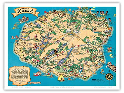Kauai Hawaii Island Map Amazon.com: Hawaiian Island of Kauai Map   Hawaii Tourist Bureau
