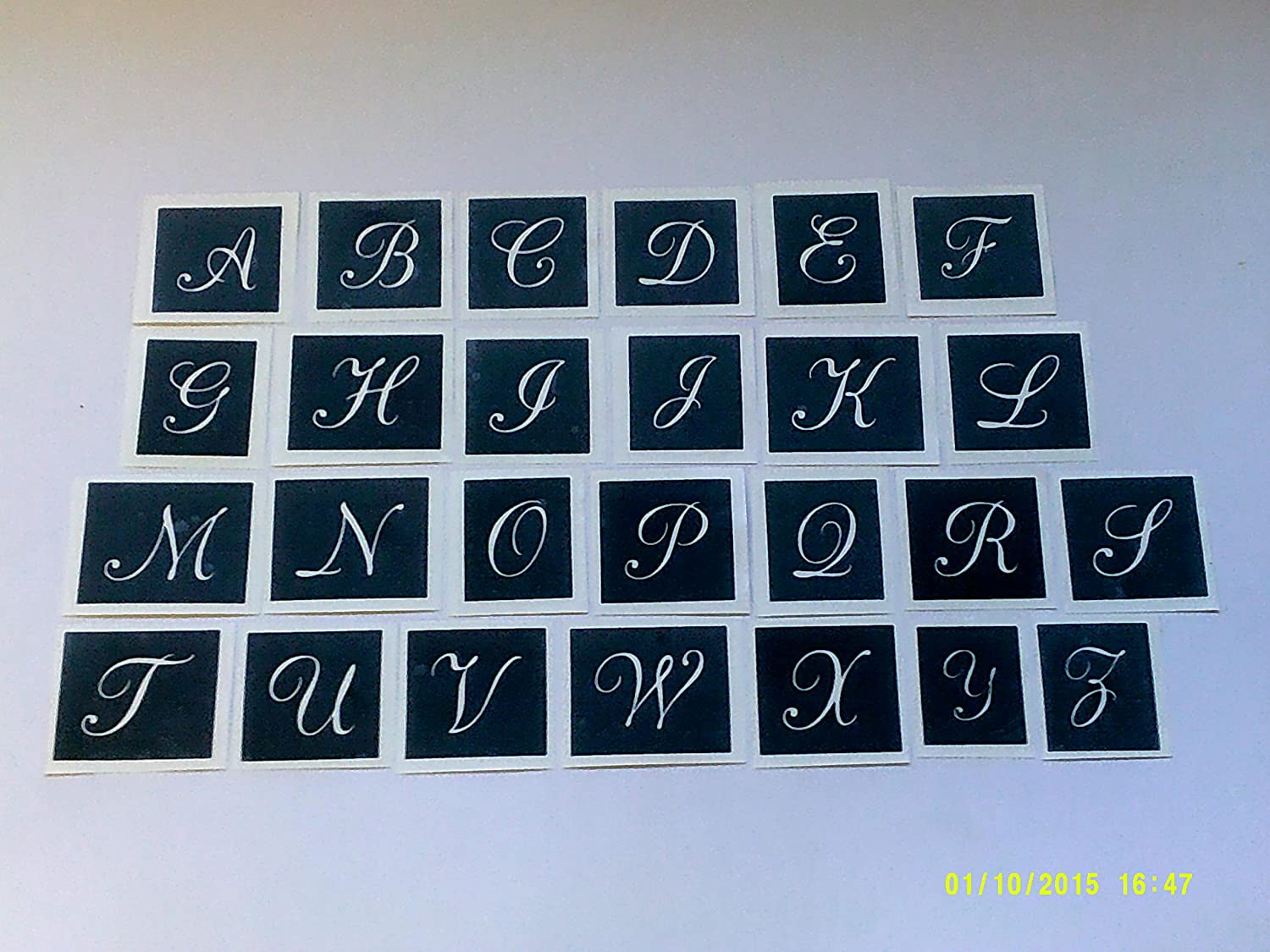 Small Alphabet capital letter stencils for etching glass A-Z - 50 letters mixed Dazzle Glitter Tattoos