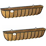 """Set of 2 x 122cm (48"""") Large Window Boxes by Ruddings Wood - Metal Rectangular Flower Trough Containers - Outdoor Wall Garden Basket Planter Box"""