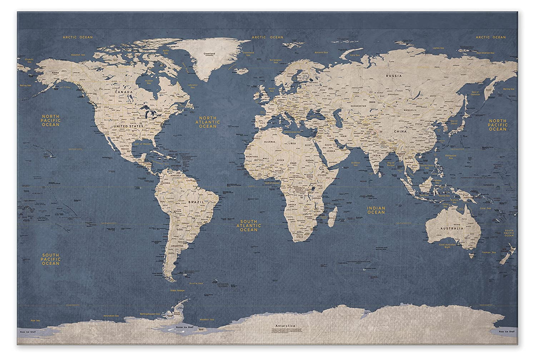 Amazon.com: World Push Pin Travel Map - Executive Style (24x36 ...