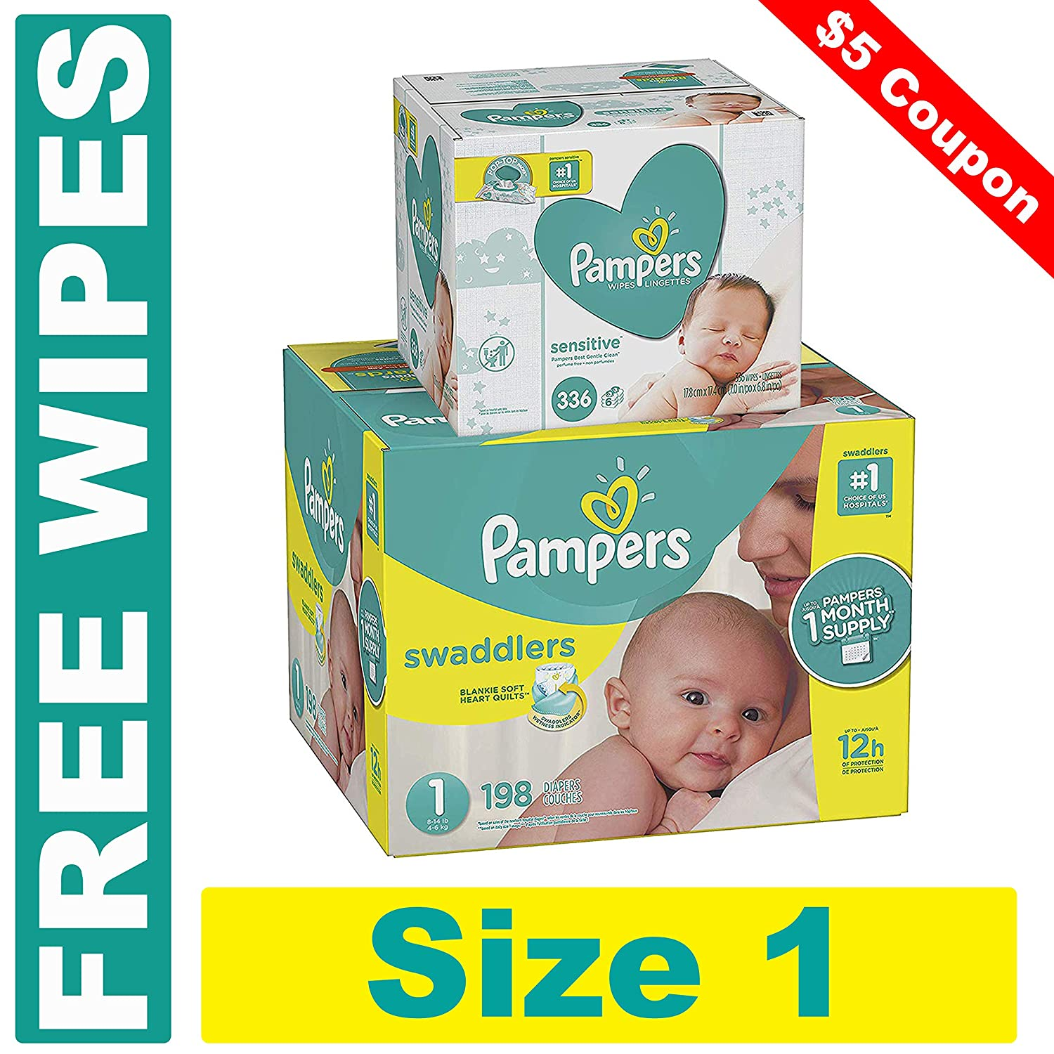Pampers Swaddlers Disposable Baby Diapers Size 4, 150 Count and Baby Wipes Sensitive  Pop-Top Packs, 336 Count PLUS LIMITED TIME FREE BONUS WIPES