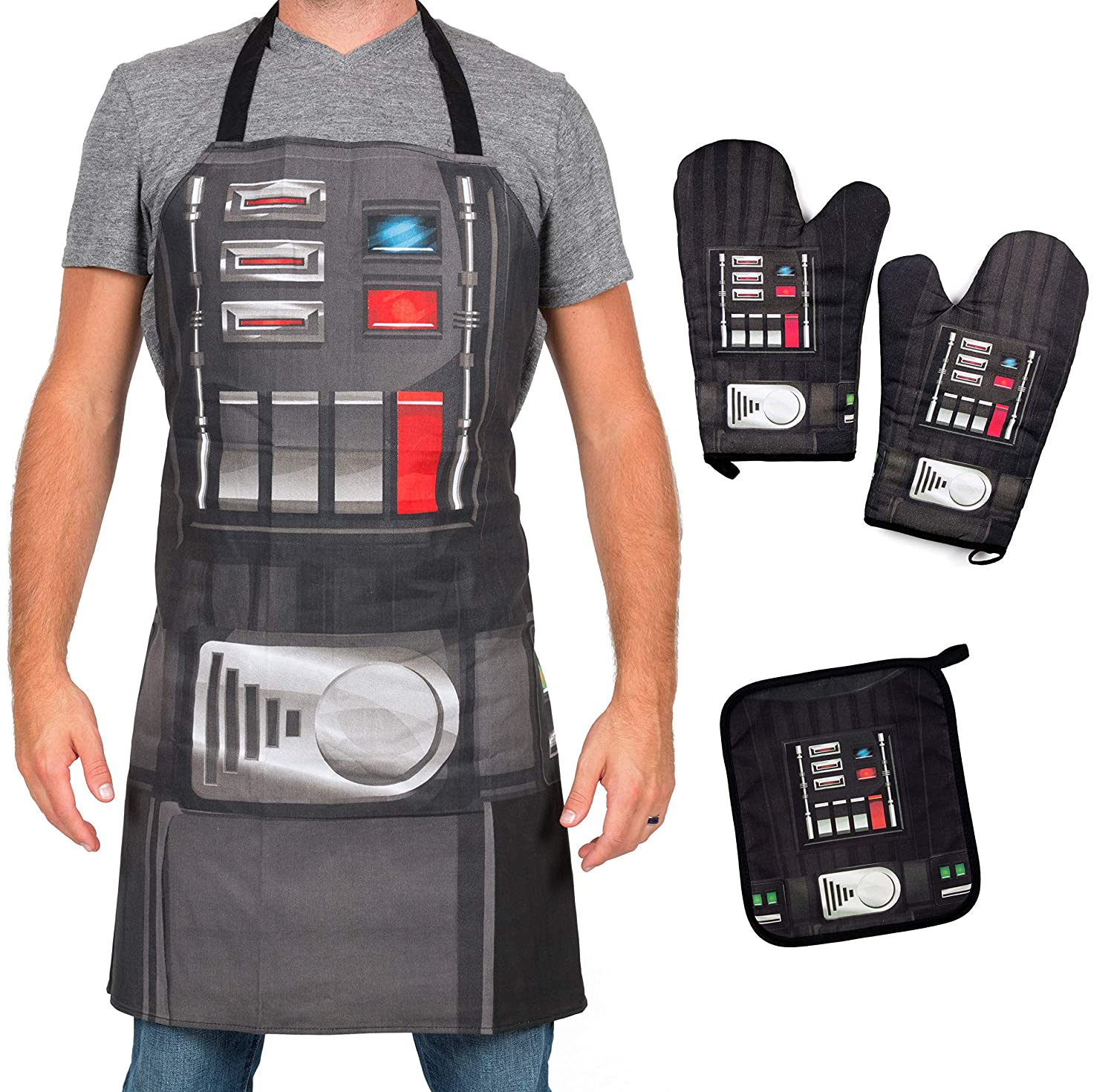 Star Wars Darth Vader Apron, Oven Mitts and Pot Holder Trivet Set - Grill and Cook on The Dark Side - One Size - 4 Piece Set