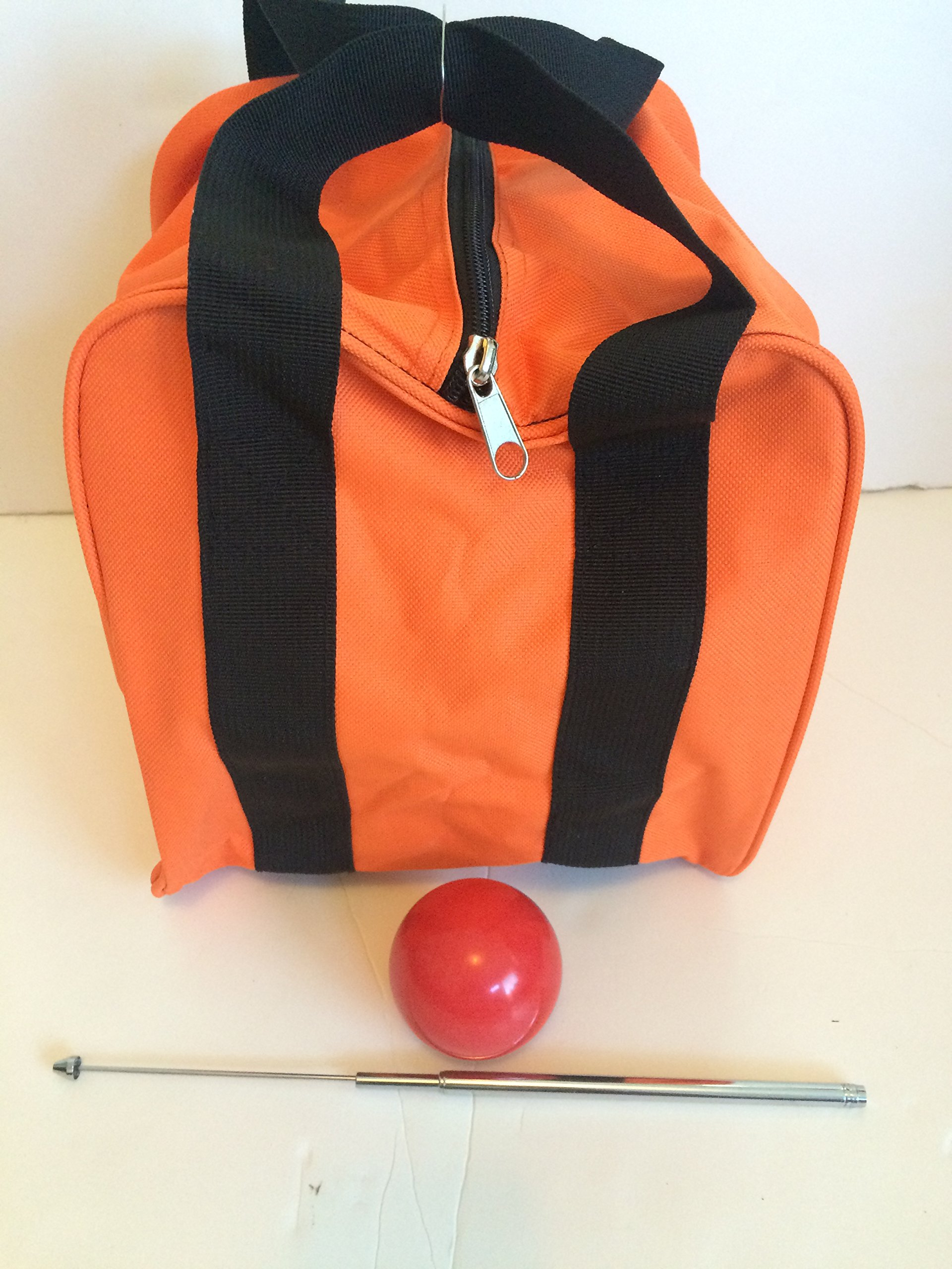 Unique Bocce Accessories Package - Extra Heavy Duty Nylon Bocce Bag (Orange with Black Handles), red pallina, Extendable Measuring Device by BuyBocceBalls