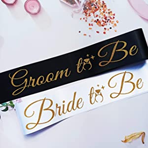 Groom and Bride to Be Sash, Coed Wedding Shower Decorations, Joint Bachelor and Bachelorette Party Supplies, Bridal Shower Stag Night Favors, Bride and Groom Gifts for Couples Engagement Party