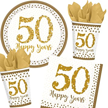 De 49 piezas Set de fiesta * Oro 50 – Sparkling Celebration * para el 50º