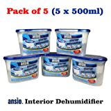Ansio - Deumidificatore per ambienti interni, 500 ml, confezione da 5 pezzi, 5 pezzi