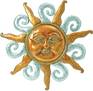 28.5 Inch Metal Sun Wall Art, Bronzed Sun Face with Hammered Galvanized Metal and Bronze Patina Rays