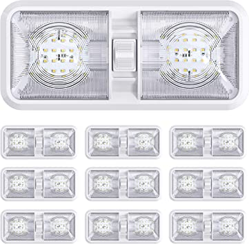 10 Pack RV LED Ceiling Double Dome Light Fixture with ON//Off Switch Interior Lighting for Car//RV//Trailer//Camper//Boat DC 12V Natural White 4000-4500K 48X2835SMD