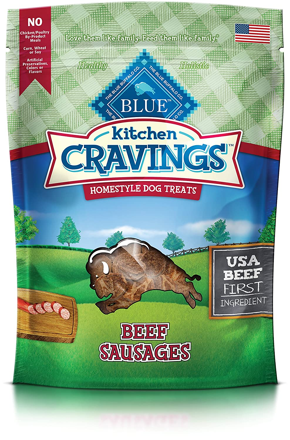 Amazon.com : BLUE Kitchen Cravings Beef Sausage Dog Treats 6-oz ...