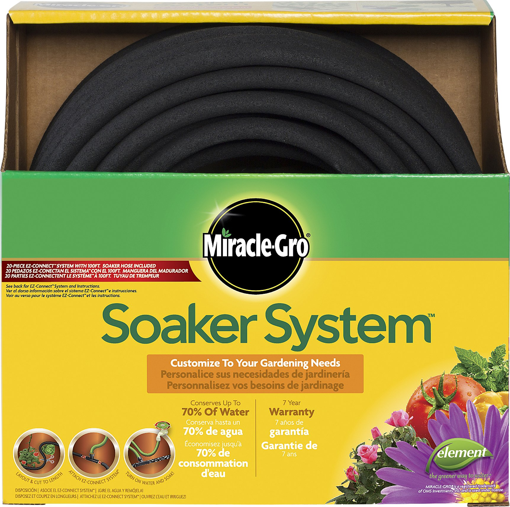 Swan Products Miracle-Gro MGSPAK38100CC Premium Soaker Hose 100 ft with Push on Fittings, 3/8'' diameter, Black