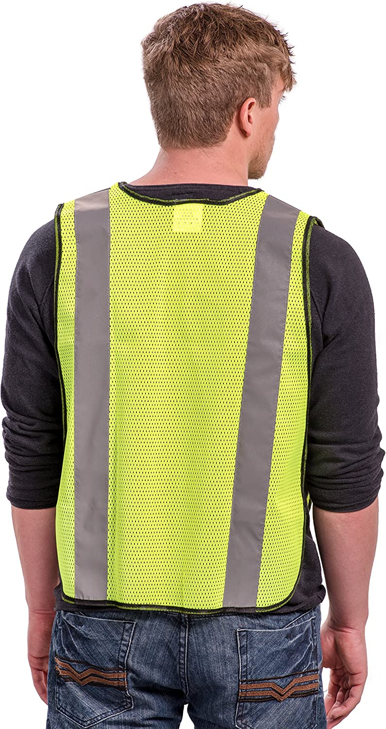 Safety Vest mit hoch Visibility - 2 Zoll Reflective Strips, Bright Neon Yellow, Breathable Polyester Mesh Fabric, Ansi Isea Class Unrated, Hi Viz alle Tag und Night (10 Pack - Small-Large)