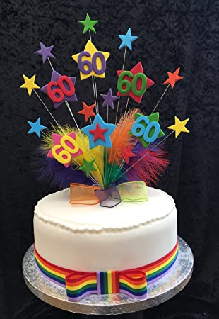 Karens Cake Toppers 60 Ans Multicolore étoiles Décoration Pour
