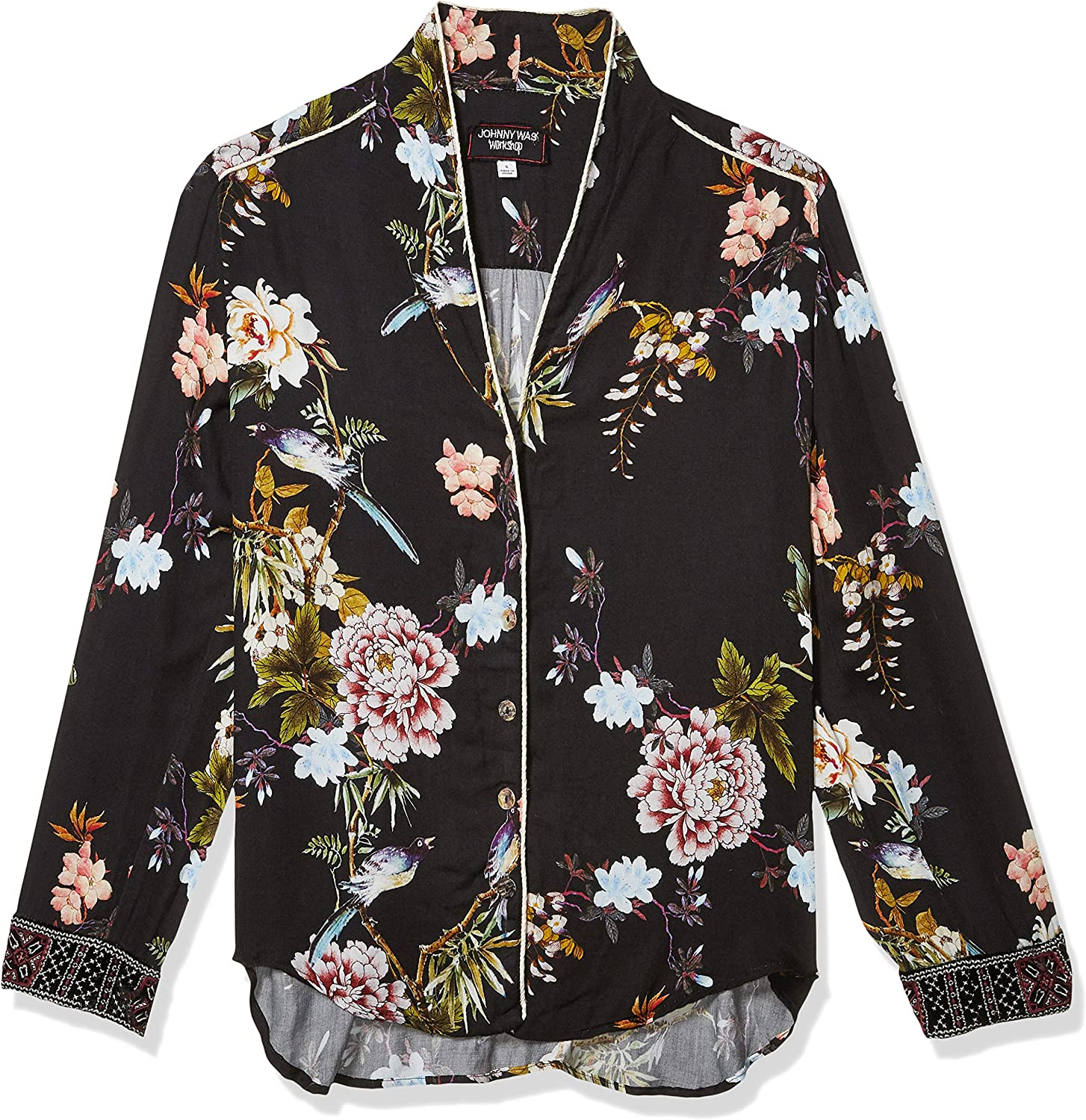 3J Workshop by Johnny Was Women's Green Printed Button Down Shirt Blouse Multi