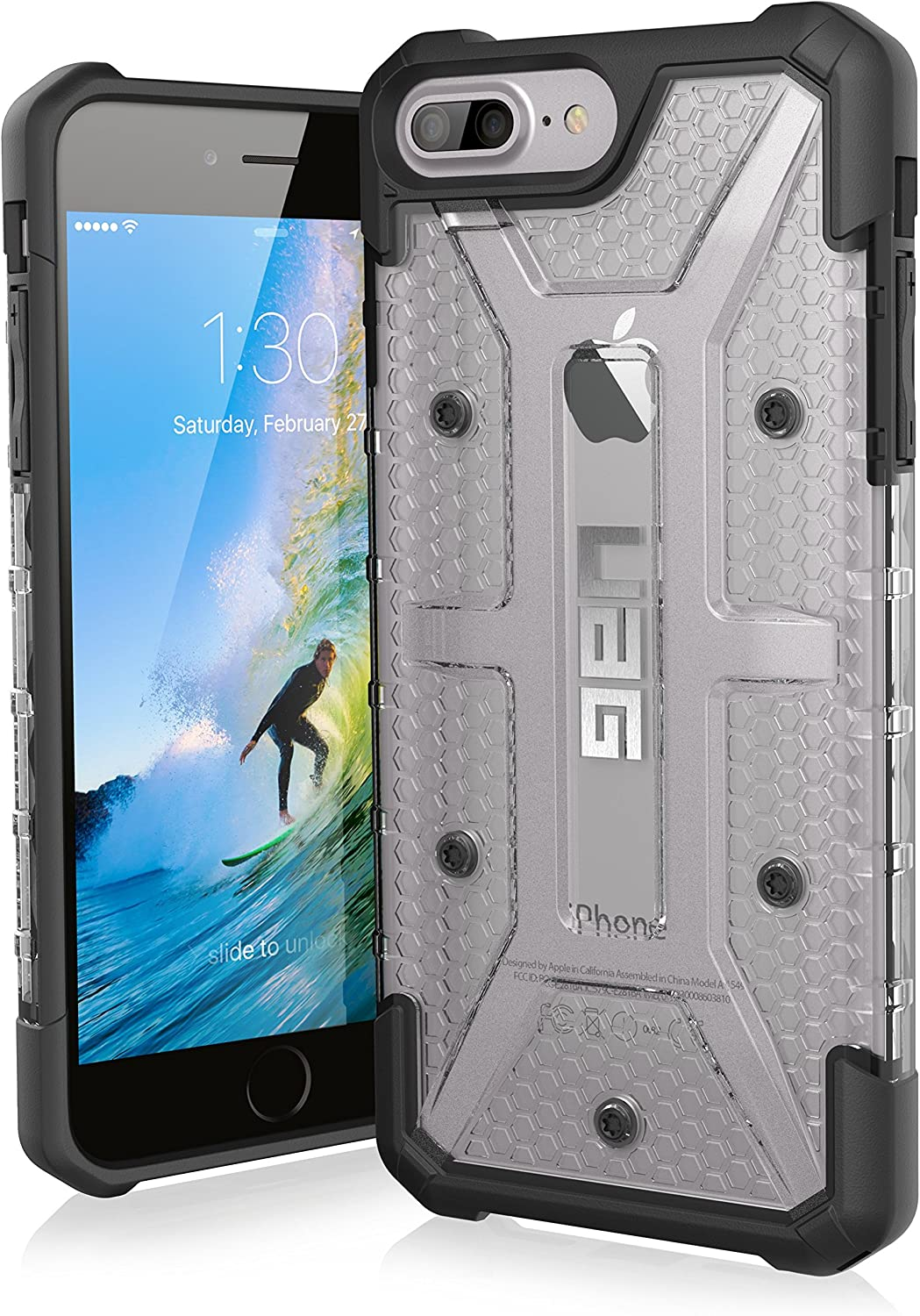 URBAN ARMOR GEAR UAG iPhone 8 Plus/iPhone 7 Plus/iPhone 6s Plus [5.5-inch screen] Plasma Feather-Light Rugged [Ice] Military Drop Tested iPhone Case