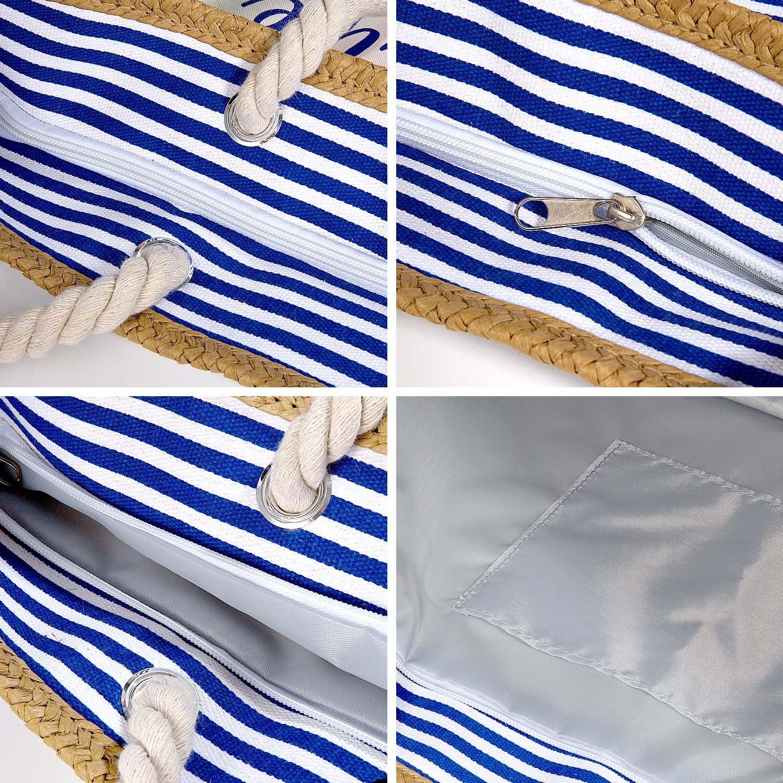 MOOKLIN Sac de Plage Vacances Fourre-Tout Grand Avec Zip Sac de Shopping Sac fourre-tout /à la plage Pour Femme et Filles