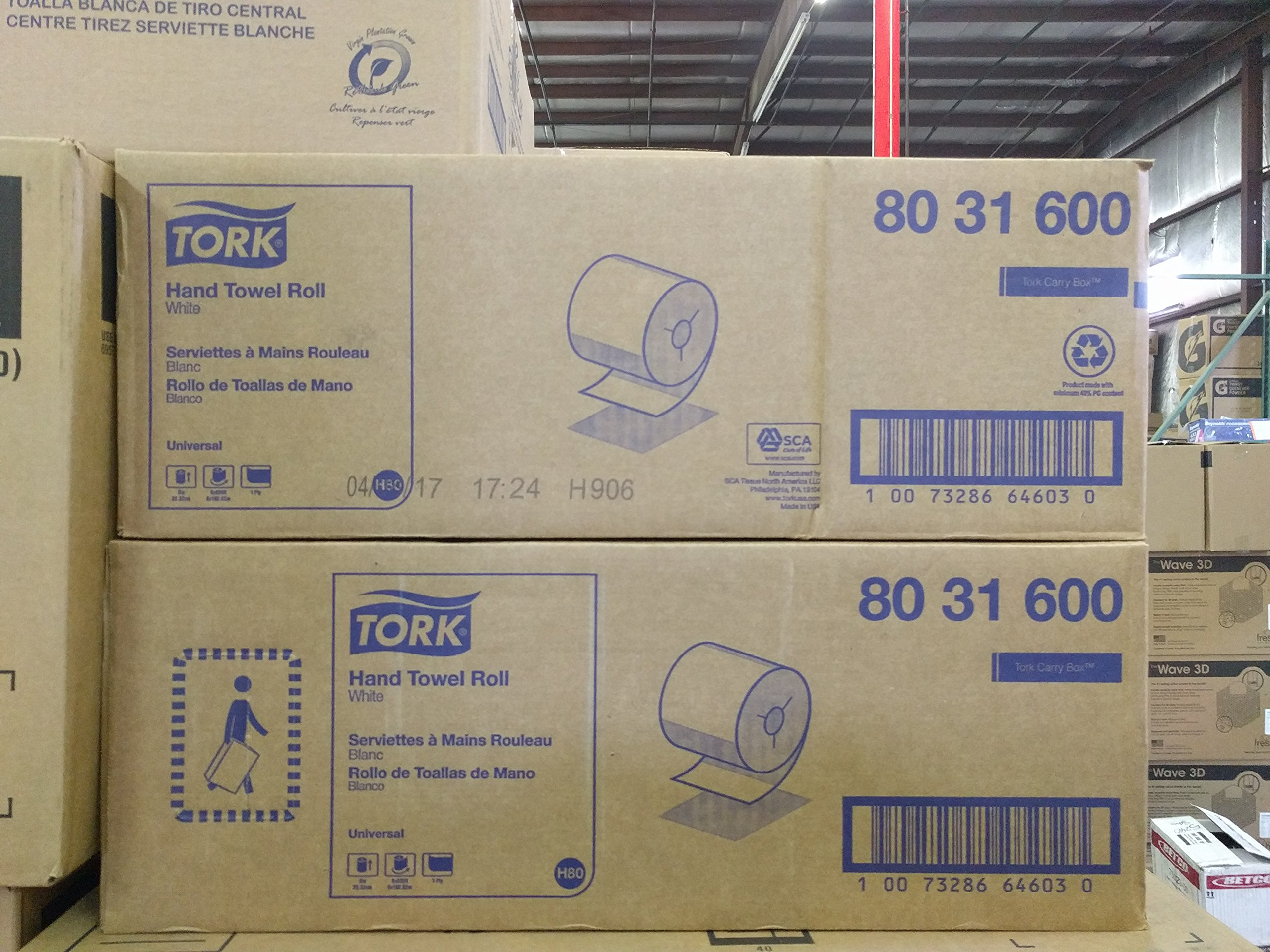 Tork Wausau Paper 80 - 31600 Ecosoft Paper Towel Rolls - White - Case of 6 - White
