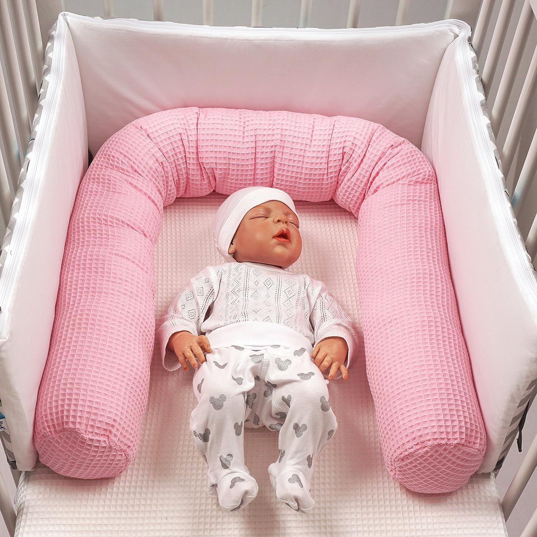 Pare-chocs Lit b/éb/é Ajustement parfait Pink 150 cm Lit rouleau MoMika Lit b/éb/é Bumper Lit Lit Bumper Lit Lit Serpent 100/% coton Wafer