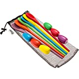 Egg and Spoon Relay Race Game - Fun game for Kids Parties, Birthdays, Family Outings - Includes 6 Eggs, 6 Spoons, and Storage Bag - Six Assorted Colors - Egg n Spoon