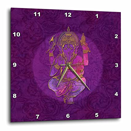 Amazon.com: 3dRose Illustration of Hindu God Ganesh a Elephant Wall Clock 13 x 13: Home & Kitchen
